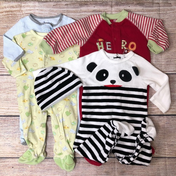 af56074bb Little Me One Pieces | Lot Of 4 Footie Pajamas 1 Hat 6 9 Months ...